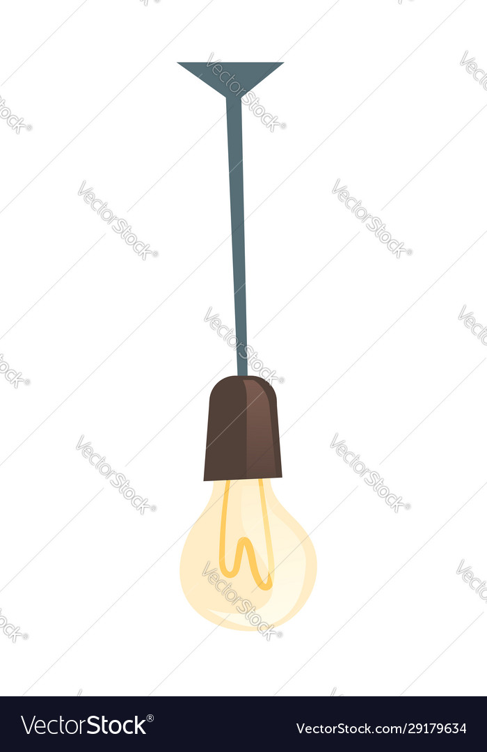 Glowing light bulb hanging electric lamp