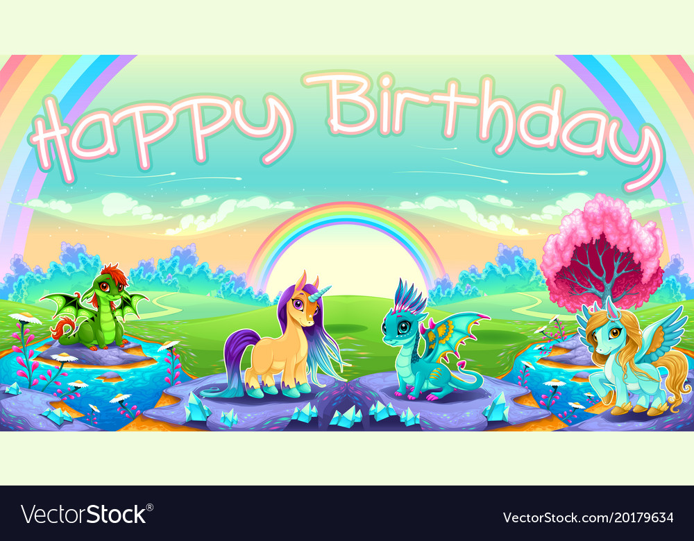 Happy Birthday Card With Fantasy Animals Vector Image