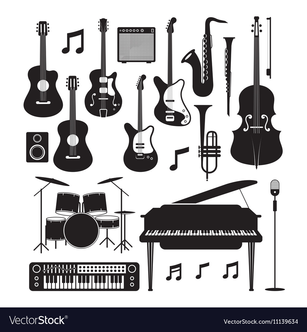 Jazz Music Instruments Silhouette Objects Set vector image