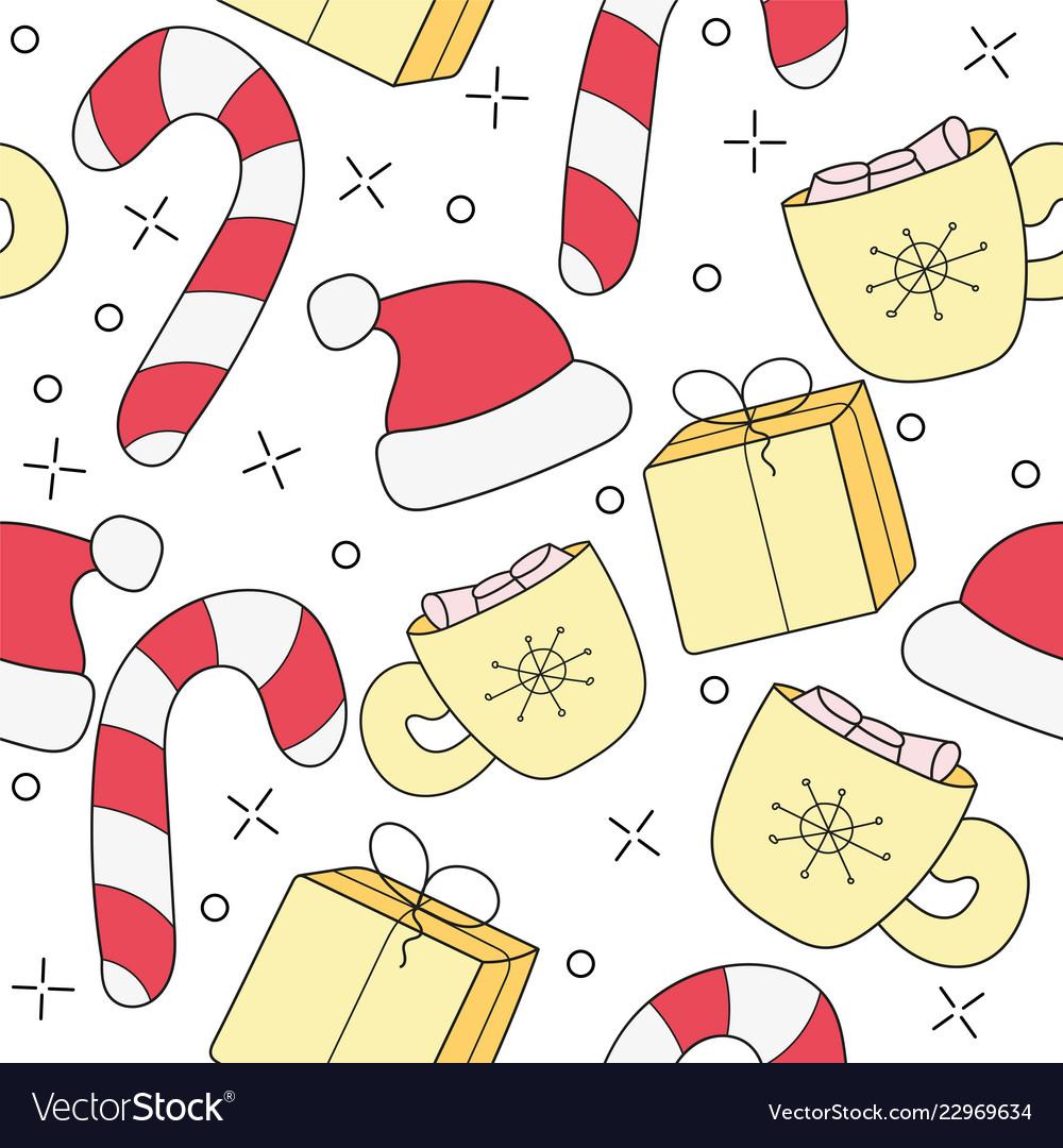 Merry christmas cartoon funny doodle seamless