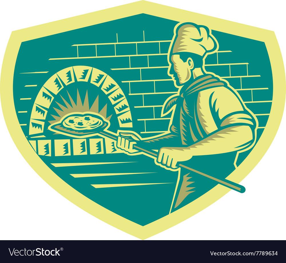 Pizza Maker Holding Peel Crest Woodcut