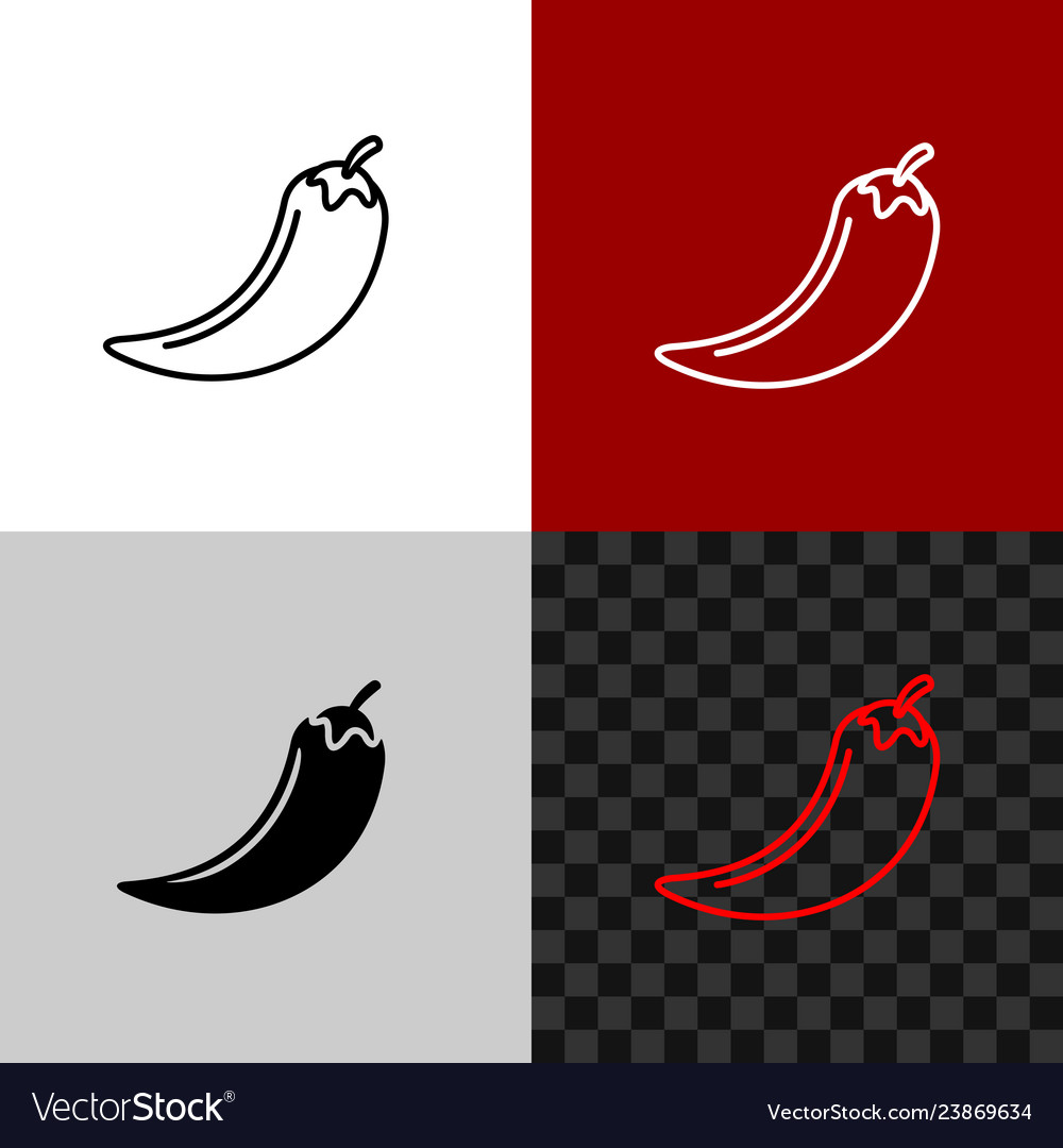 Red hot chili pepper line icon pepper whole logo