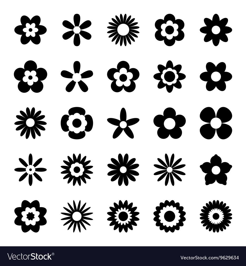 Set black flower icons isolated on white