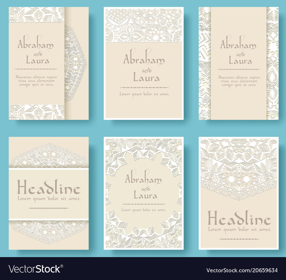 Set of wedding card flyer pages ornament vector image