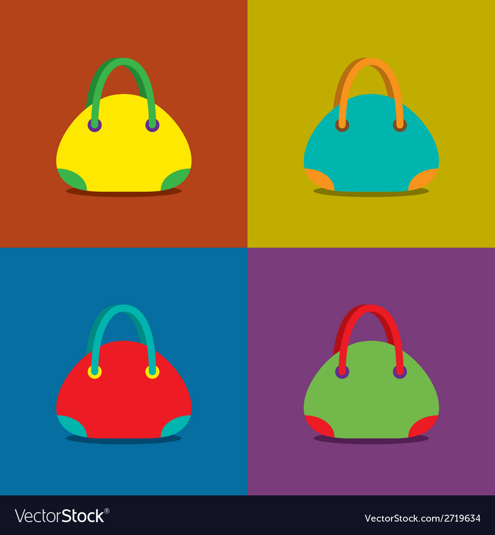 Women Bags on Colorful Background vector image