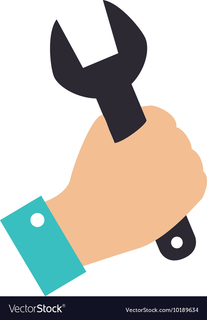 Wrench hand construction grab icon graphic vector image