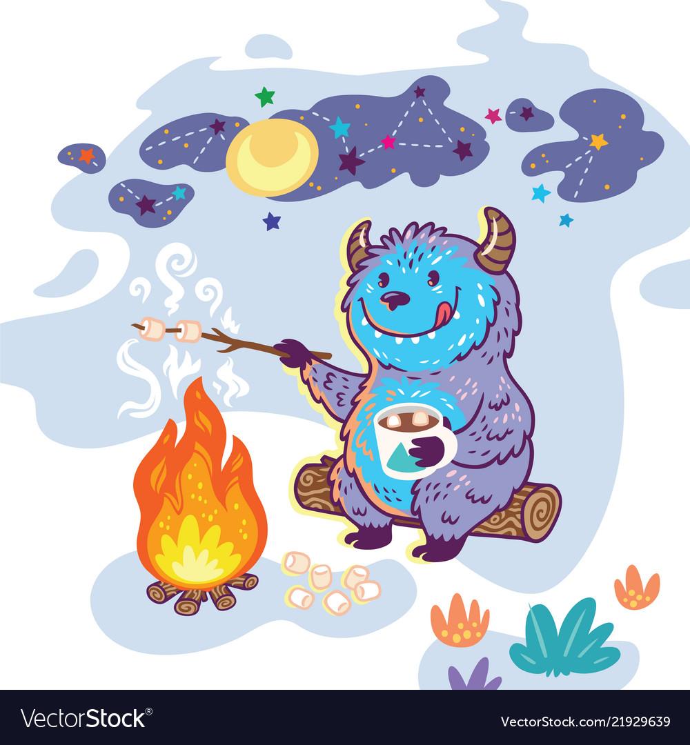 Bigfoot roasts marshmallows over a campfire