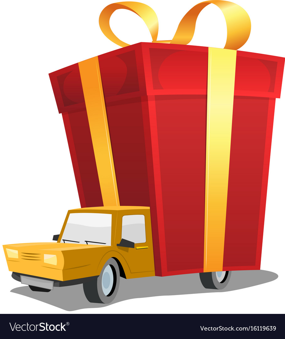 Birthday gift on delivery truck vector image  sc 1 st  VectorStock & Birthday gift on delivery truck Royalty Free Vector Image
