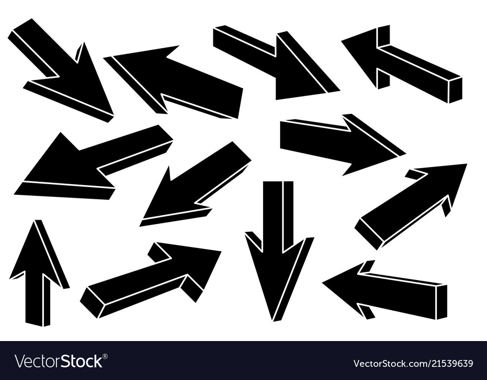 Black flat arrows set of straight signs