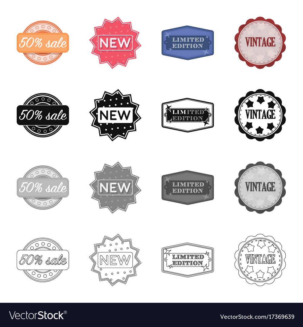 Different Types Of Labels Novelty Vintage Vector Image