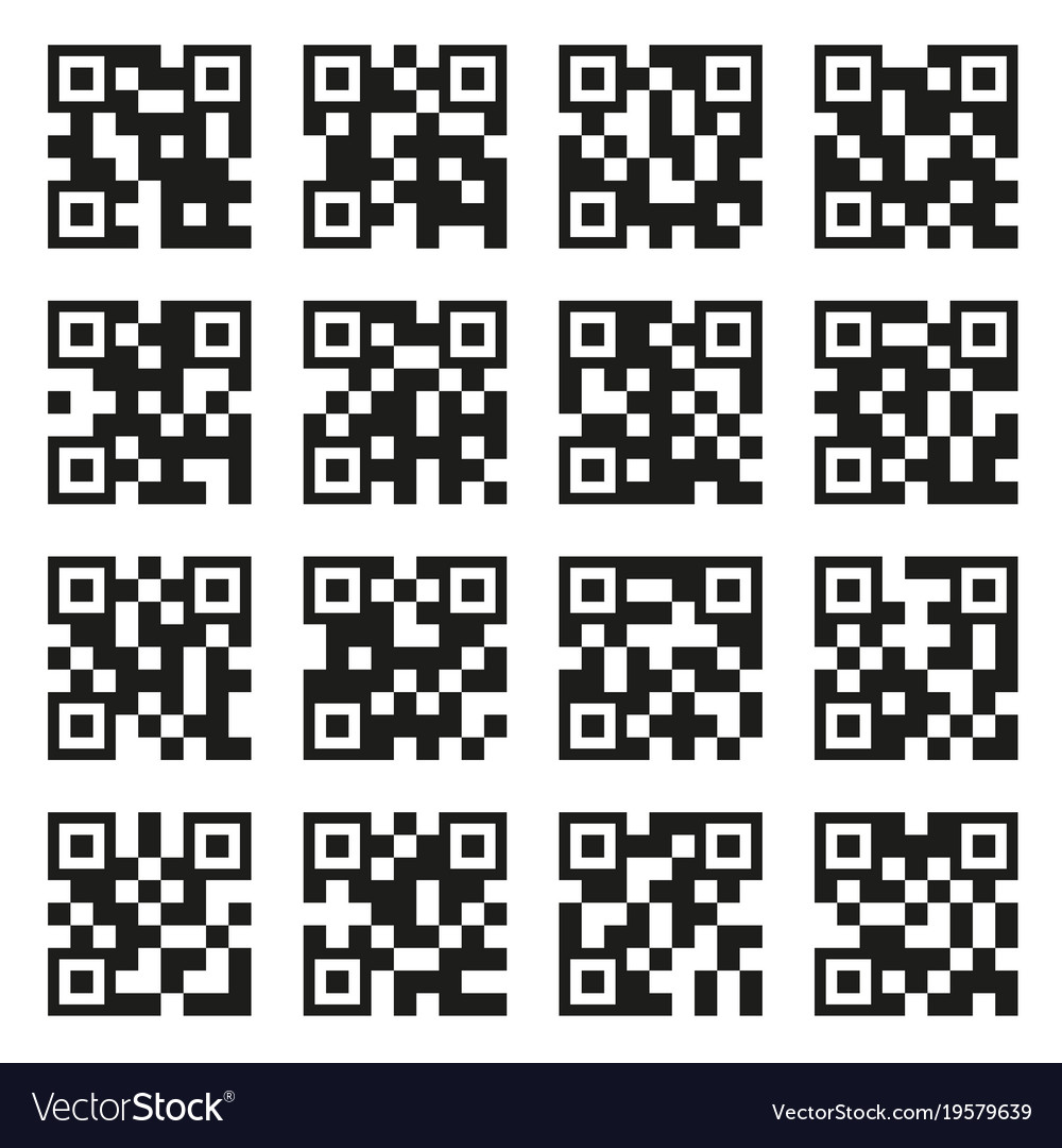 Qr codes set example icons on white background