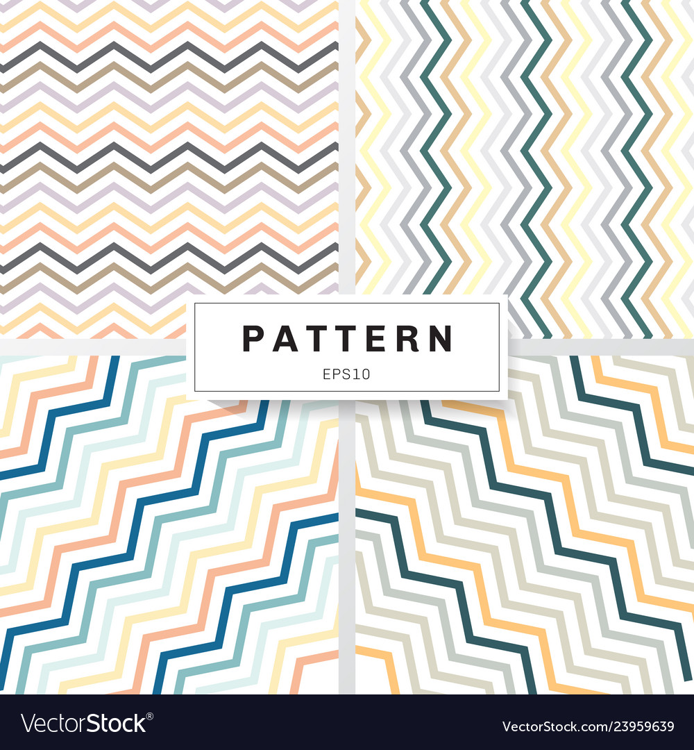 Set of chevron patterns pastels color on white