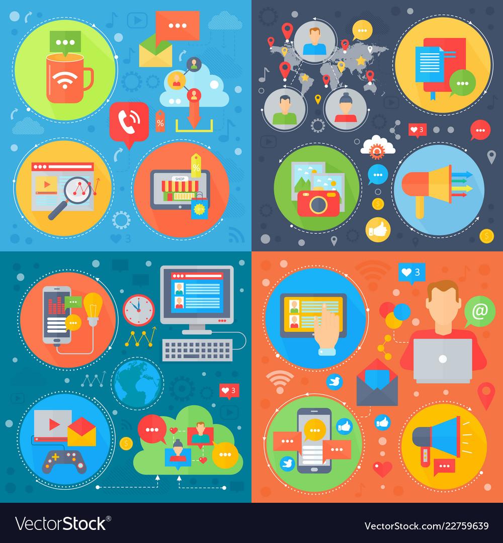 Social media square concepts set online mobile