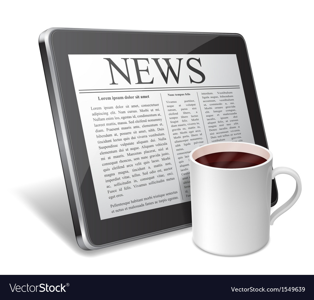 Tablet and coffee cup vector image
