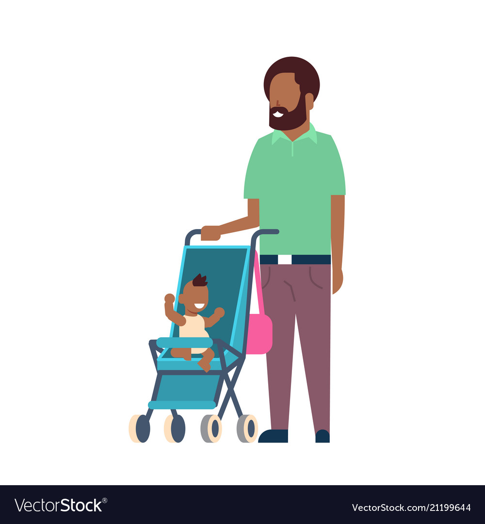 African father beard with baby son in stroller