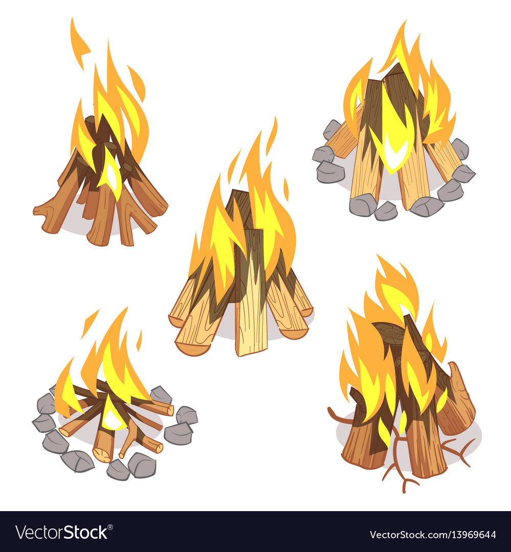 Campfire outdoor bonfire with burned logs cartoon