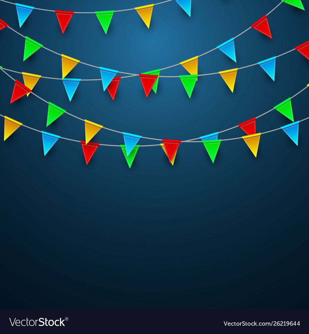 Celebration carnival party background with flags