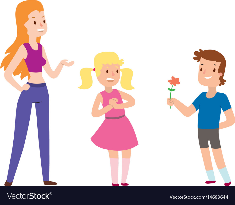 Children happy couple cartoon relationship