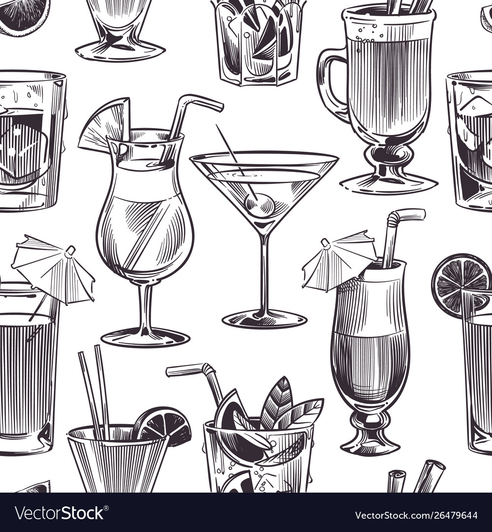 Cocktail seamless pattern hand drawn cocktails
