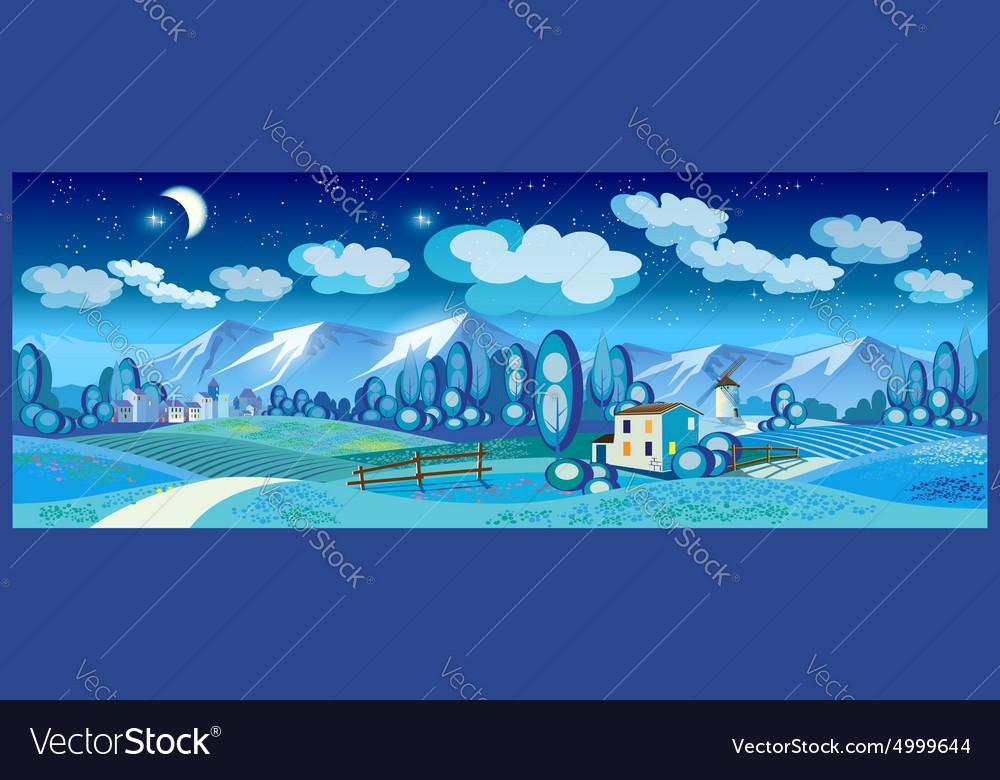 Countryside at night vector image