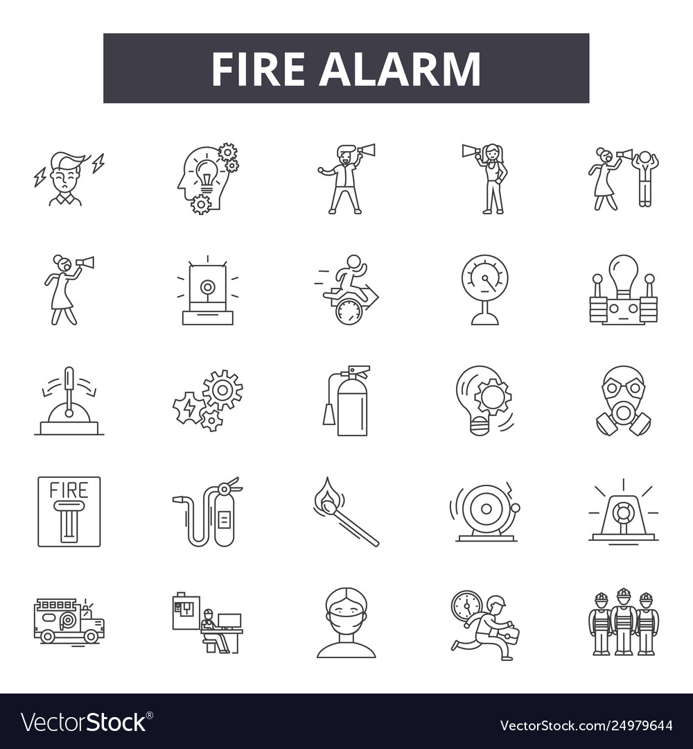Fire alarm line icons signs set outline
