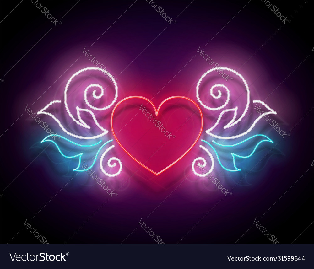 Glow signboard with ornate heart