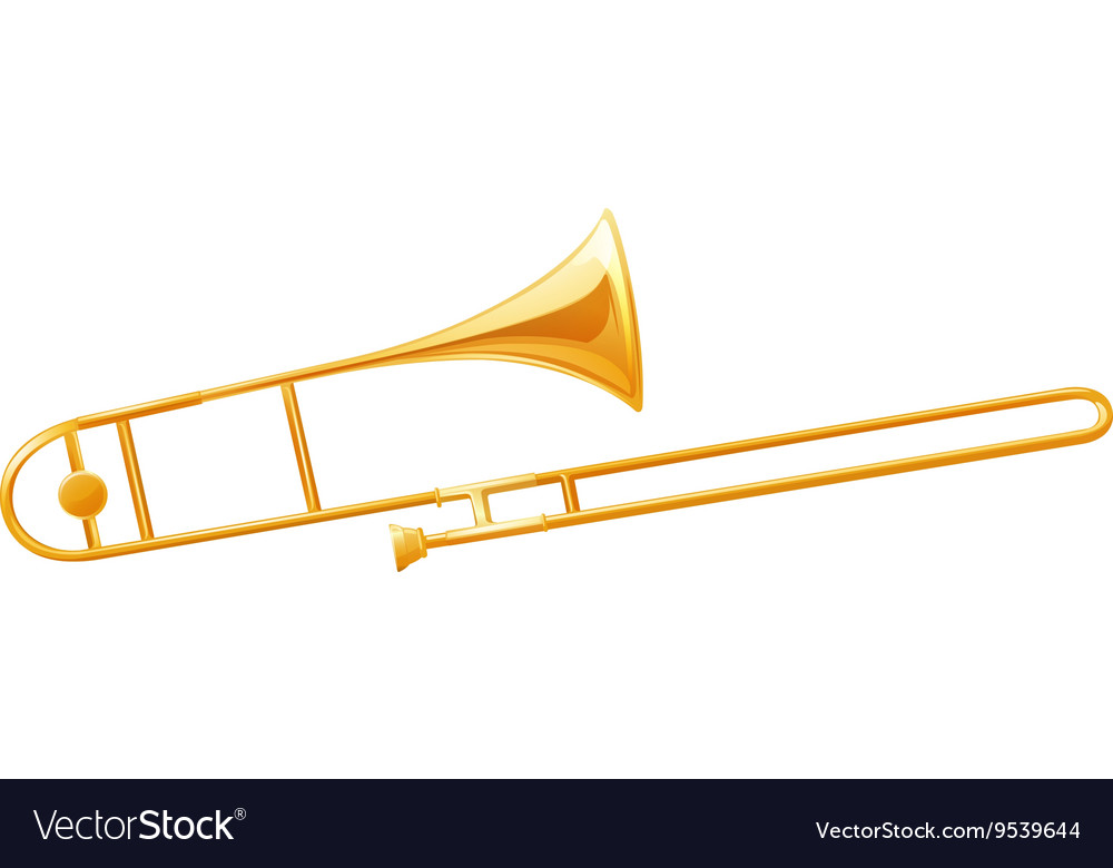 Golden trumbone on white background vector image