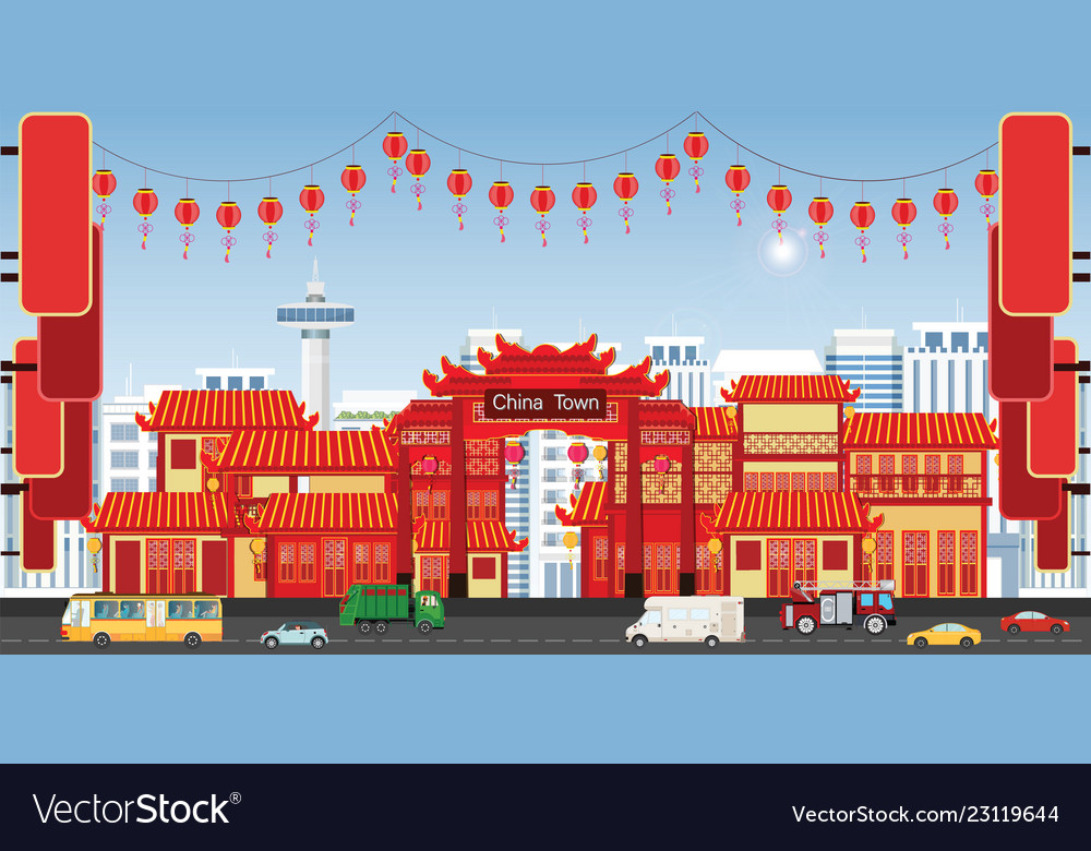 Happy chinese new year greeting card with china
