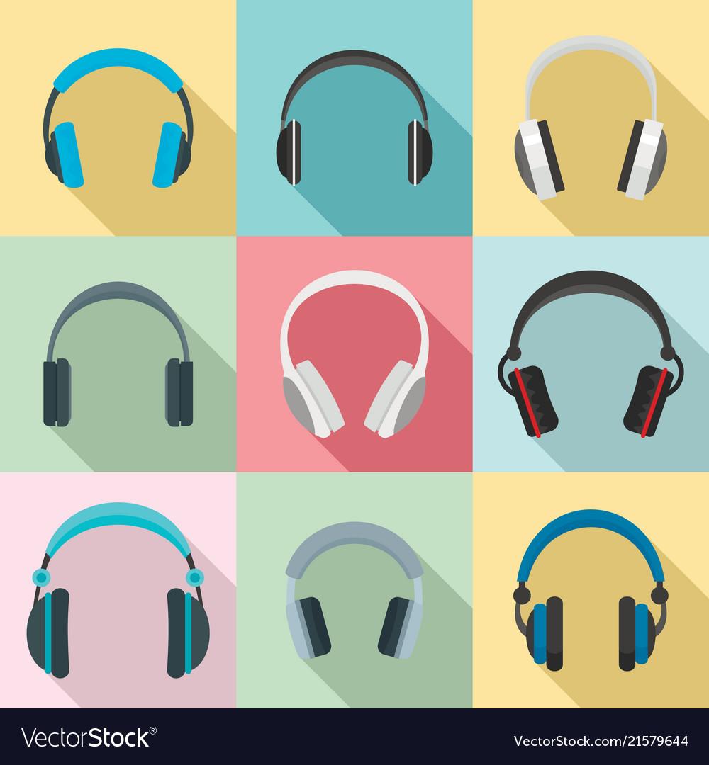 Headphones music speakers icons set flat style