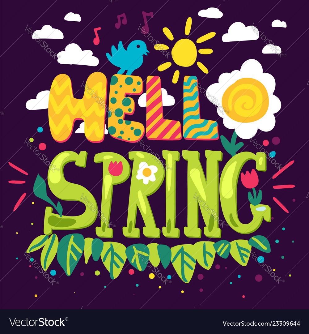 Hello spring hand drawn lettering
