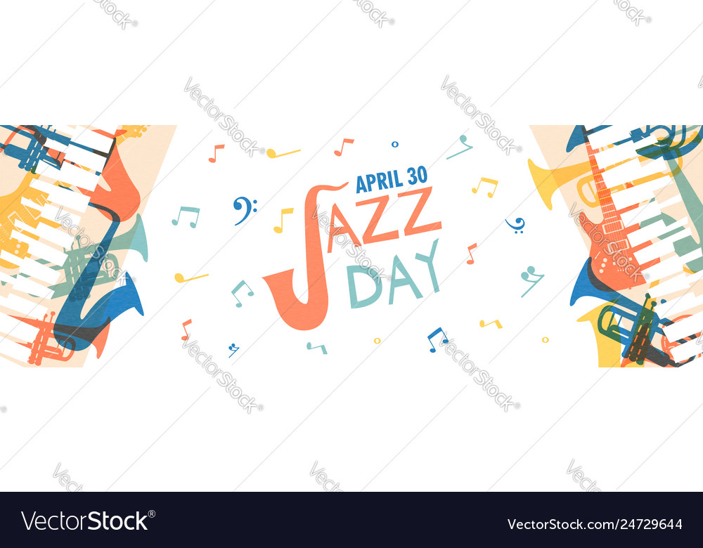 Jazz day banner music band instruments