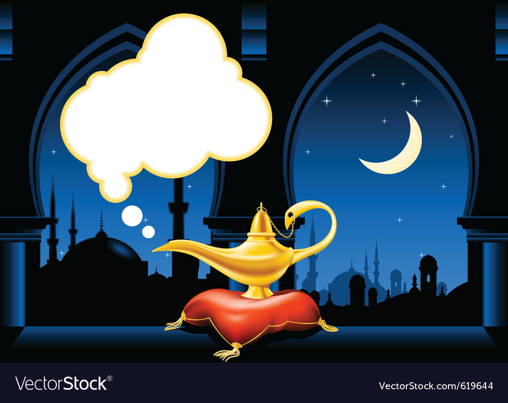 Magic lamp and arabic city skyline