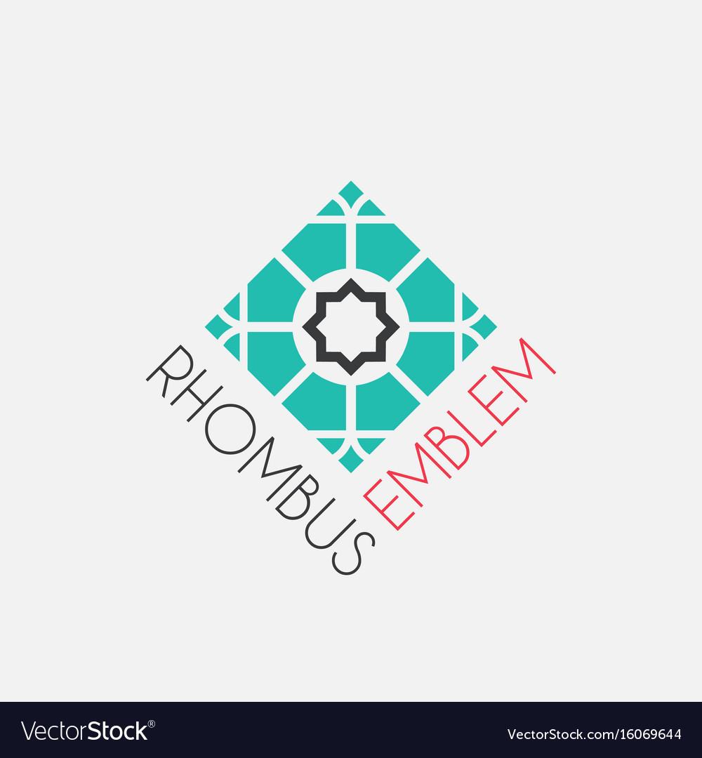 Mosaic rhombus emblem