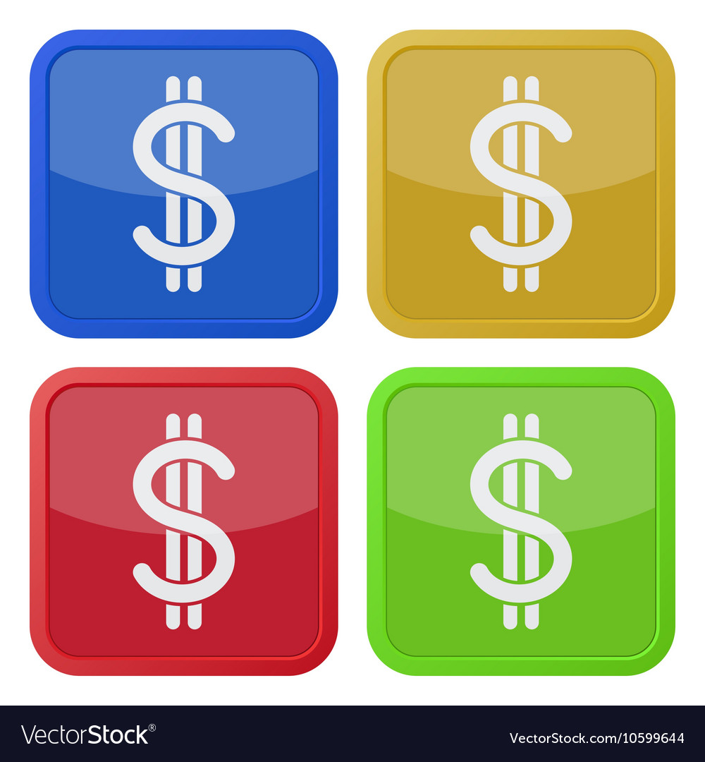 Set of four square icons - dollar currency symbol