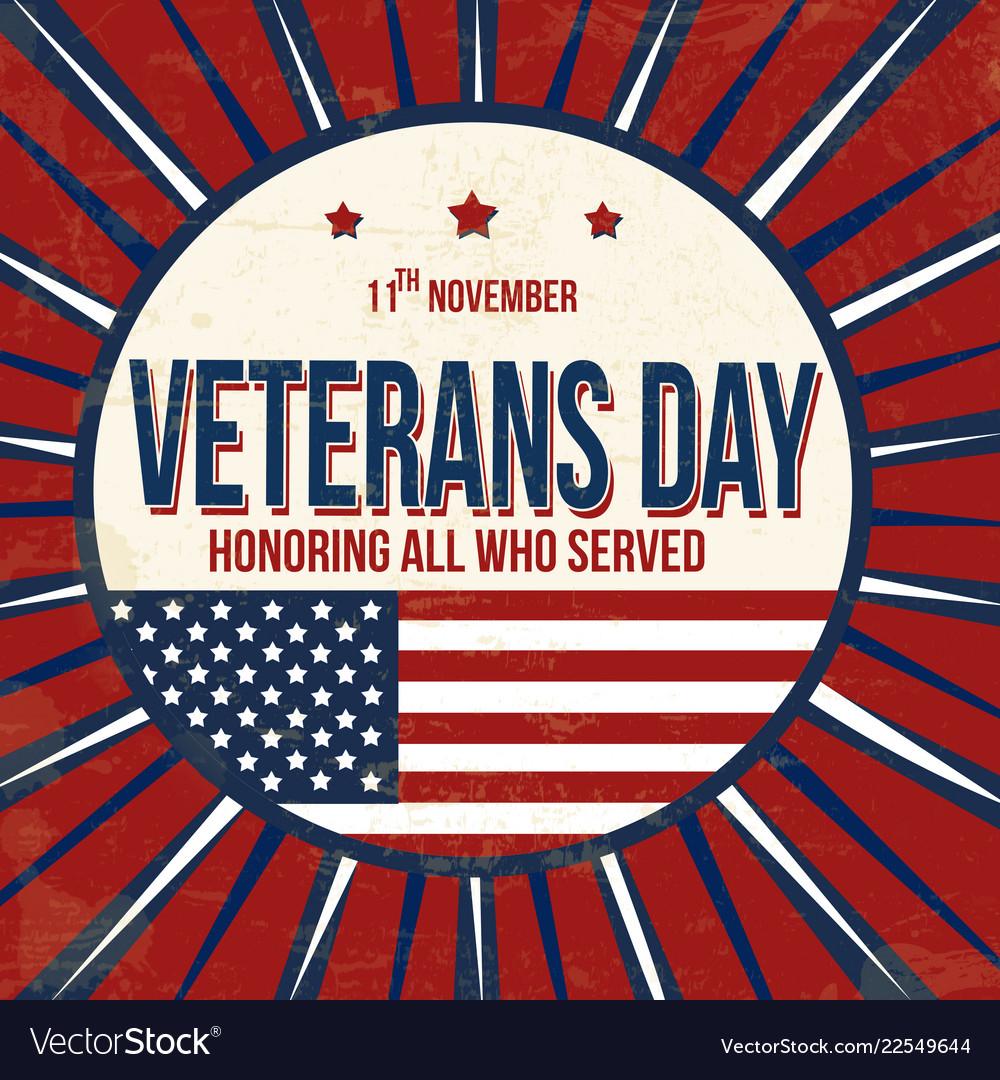 Veterans day vintage grunge poster