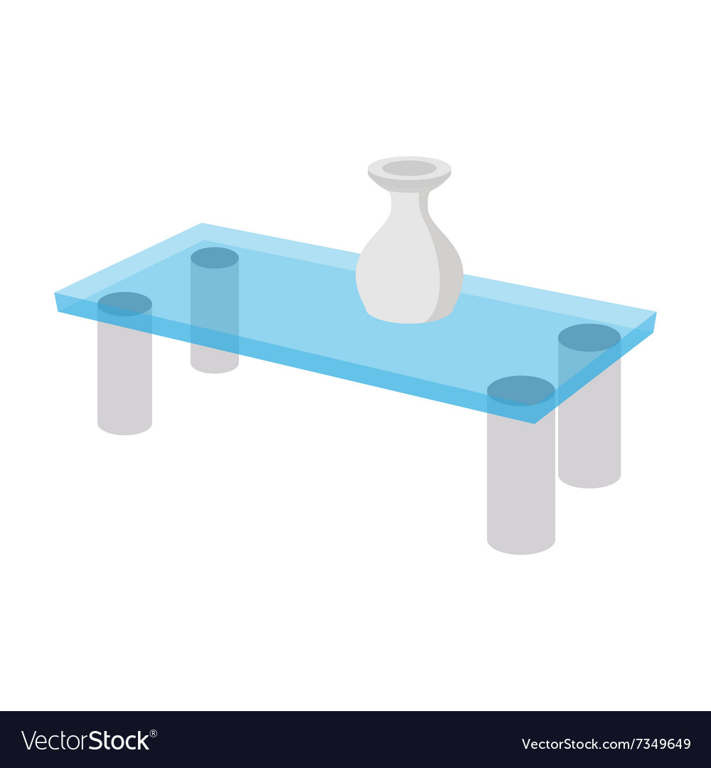 A Glass Coffee Table With A Vase Cartoon Icon Vector Image