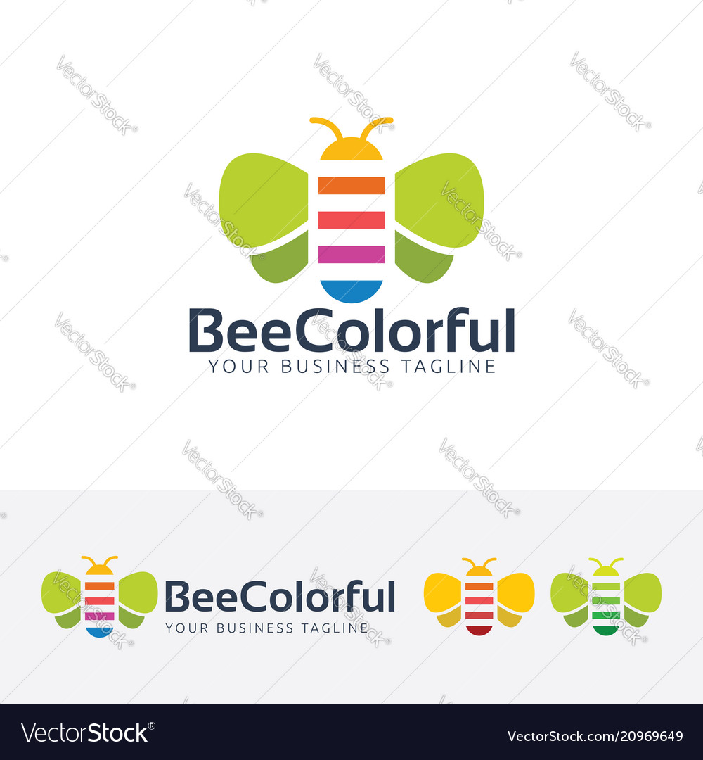 Bee colorful logo design