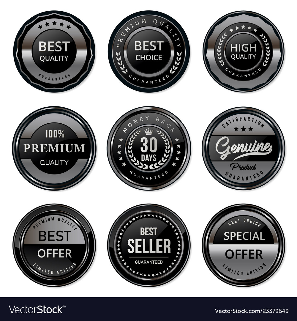 Black and silver quality labels