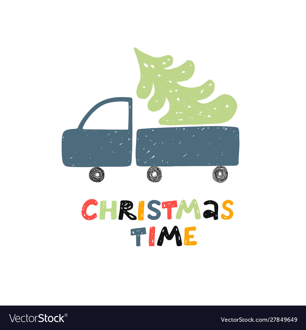Christmas time greeting card car with christmas