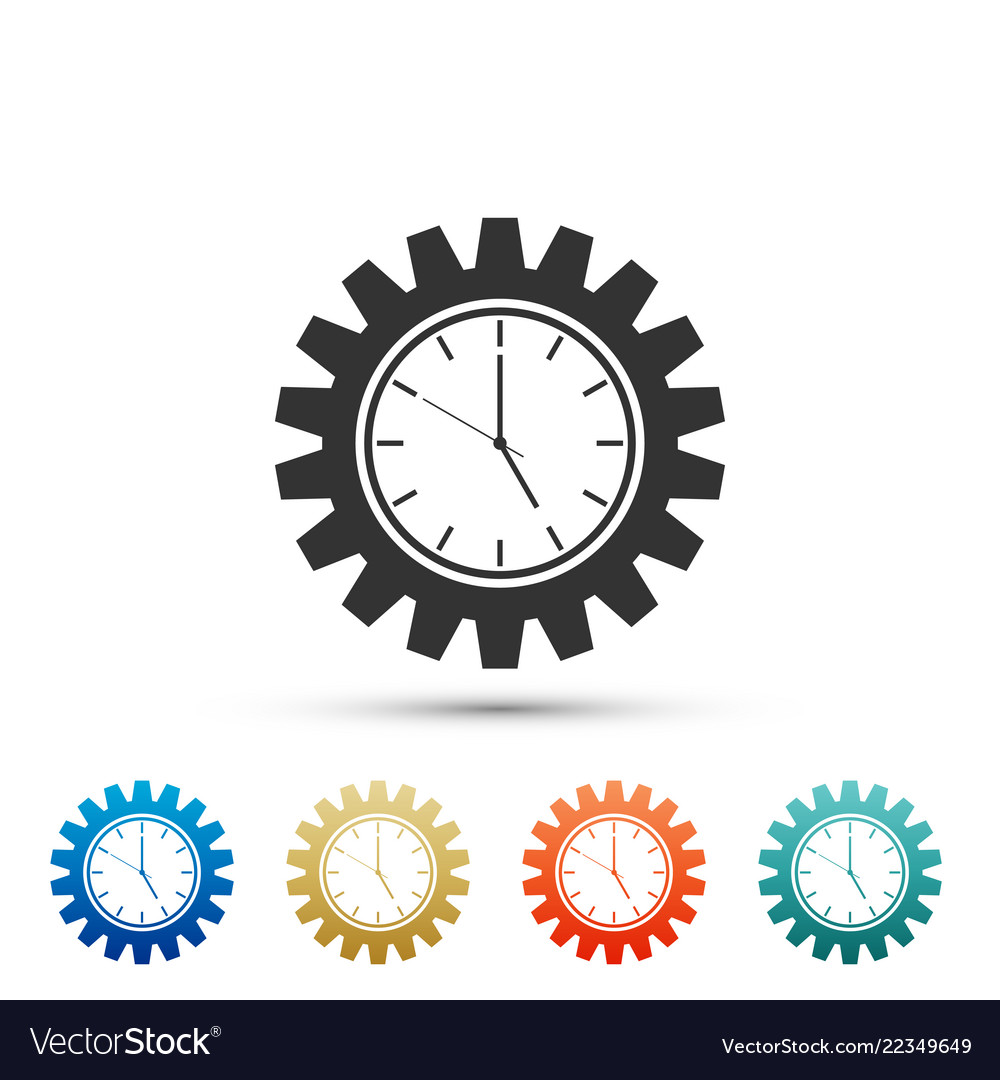 Clock gear icon isolated on white background