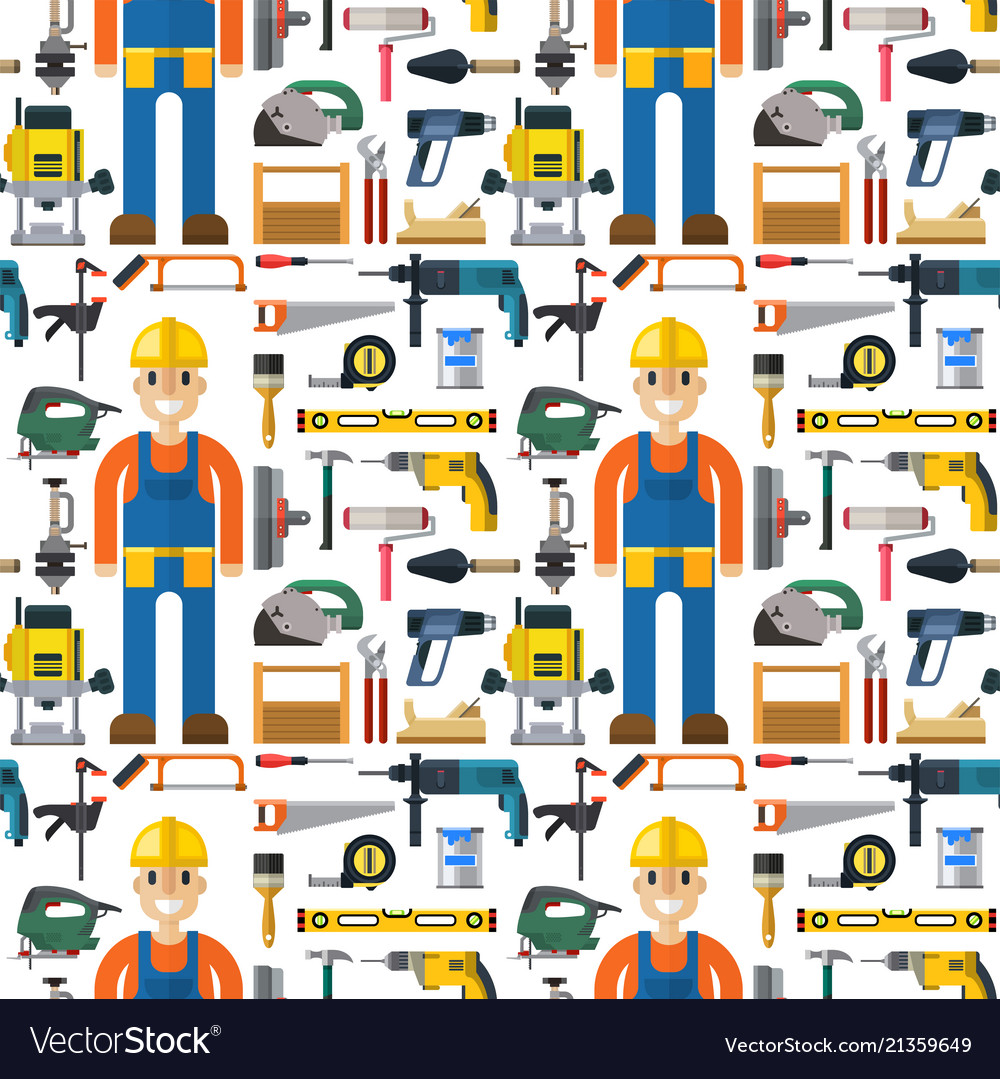 Construction man and building tools carpenter