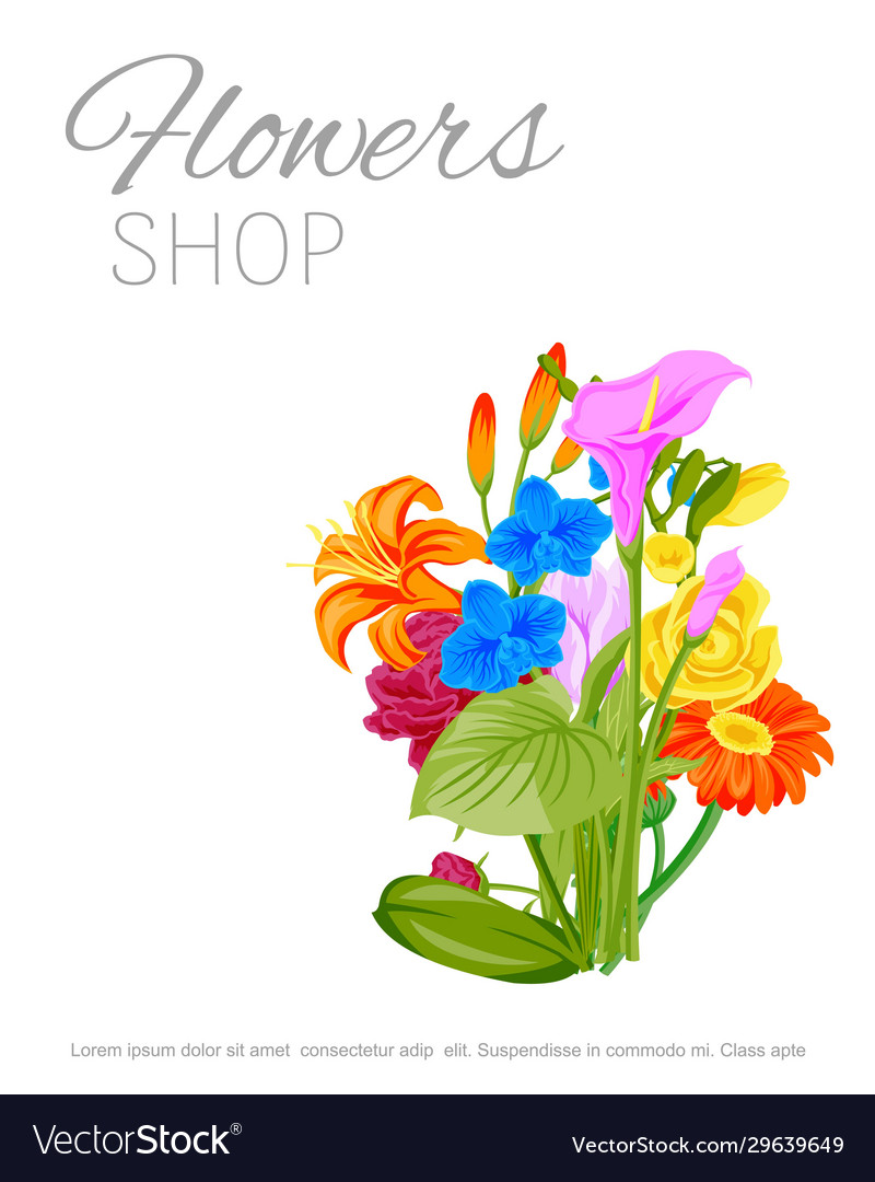 Flowers shop floral poster with peopy lily roses