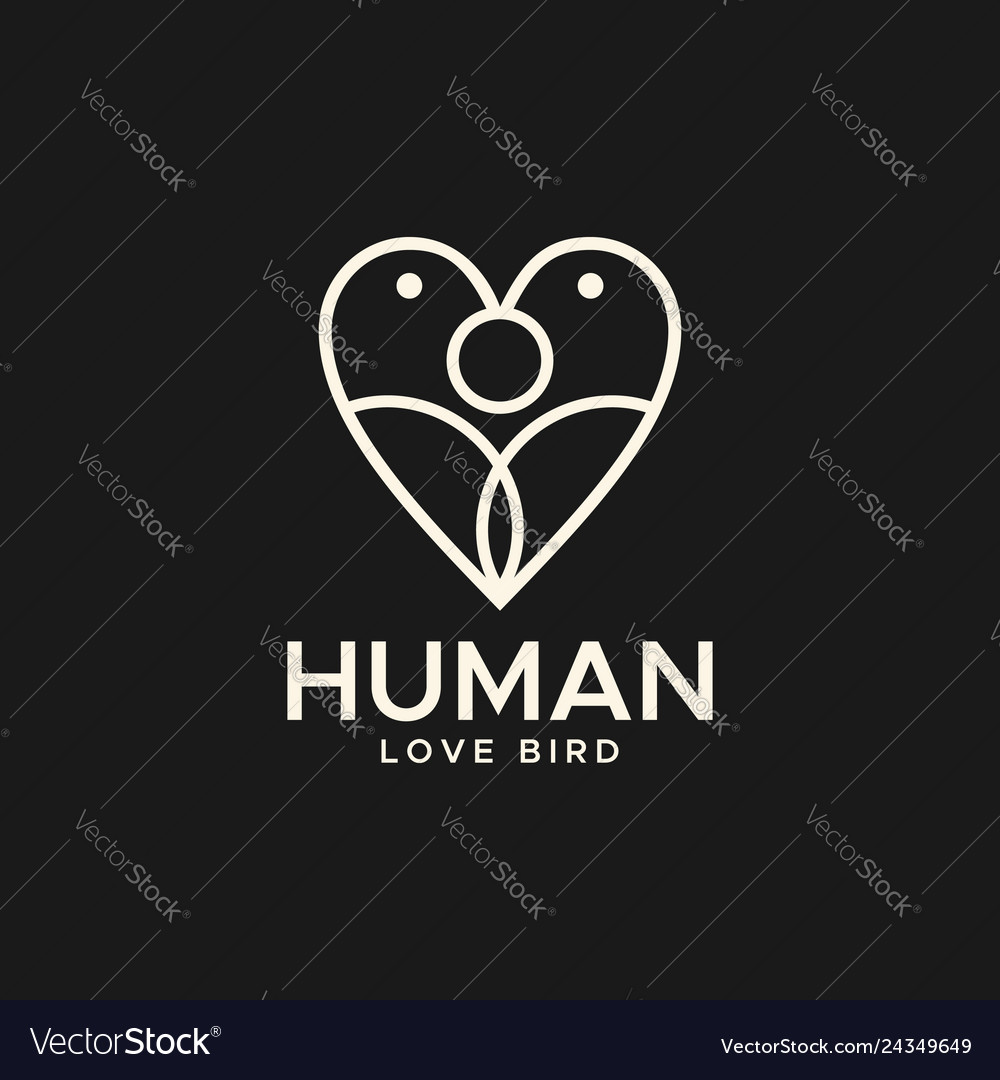 Human love bird abstract logo