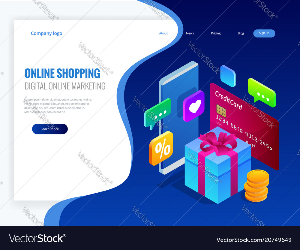 Isometric online shopping concept digital online