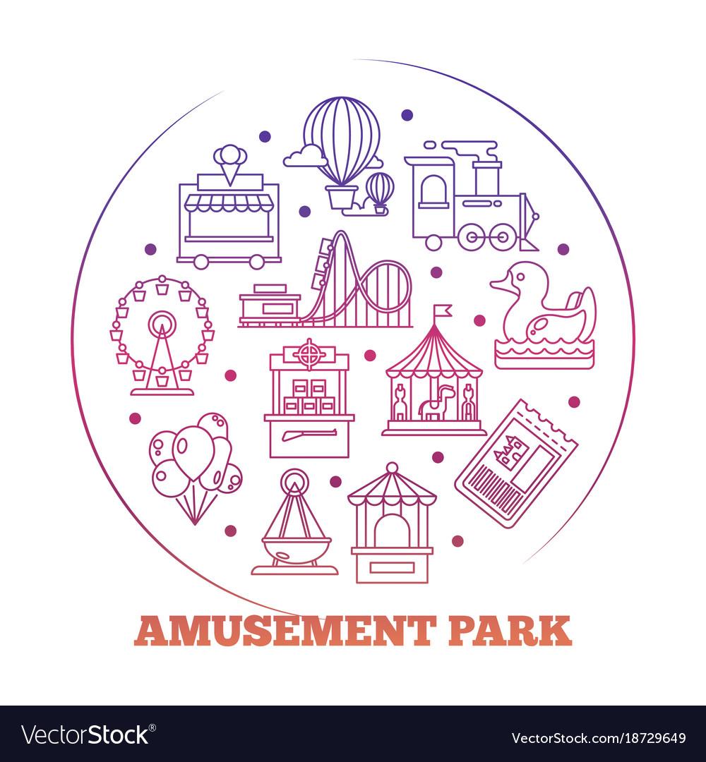 Line Icons Amusement Park Round Logo Design Vector Image