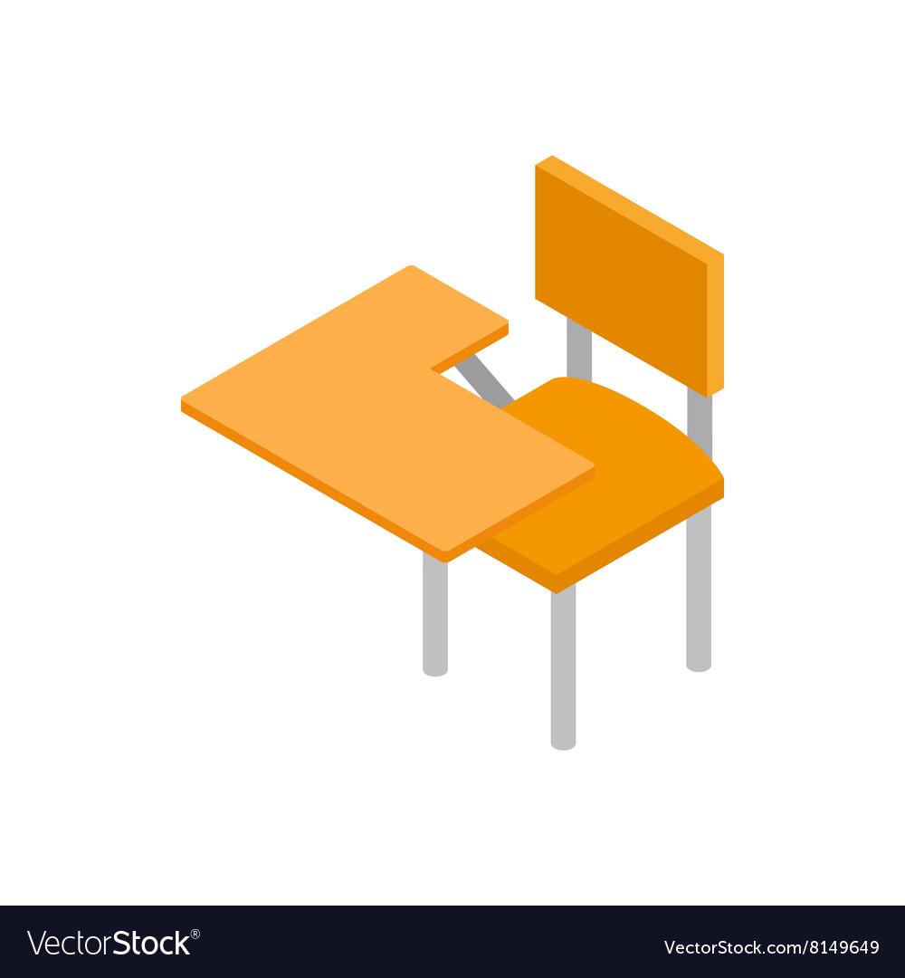 School desk icon isometric 3d style