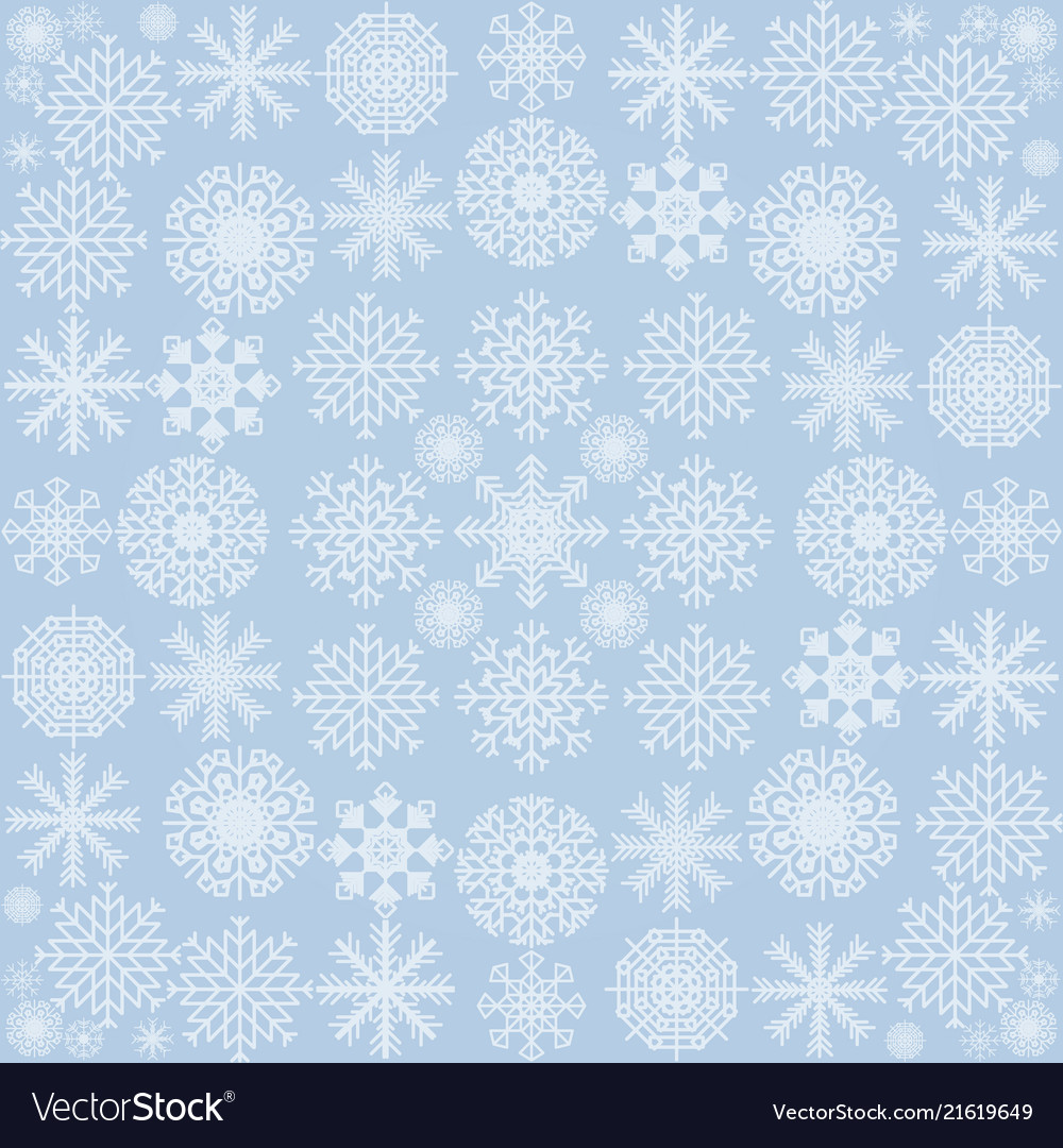 The pattern of snowflakes on a blue background