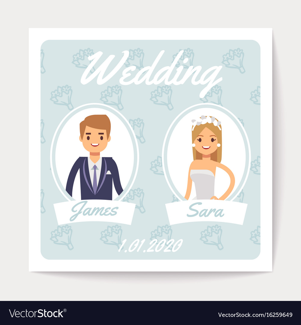Wedding invitation card with happy married