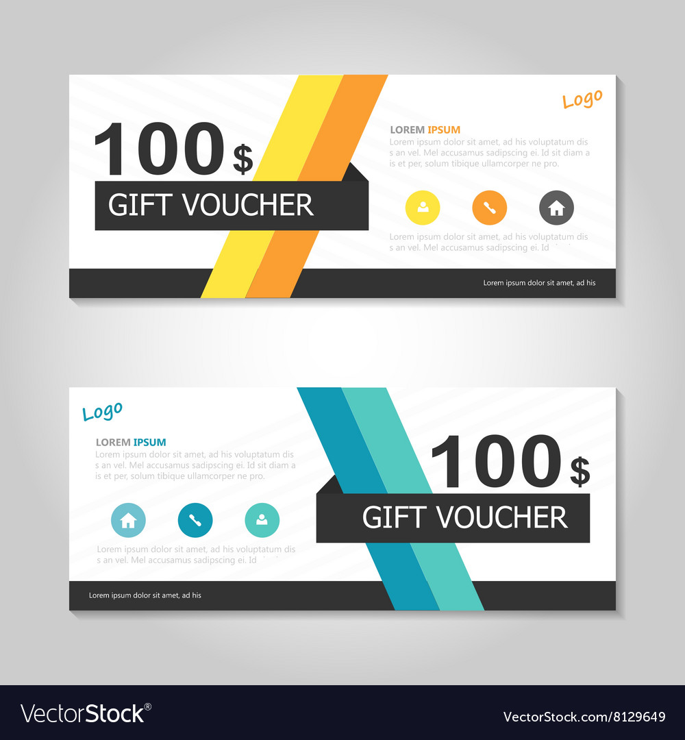 yellow blue gift voucher ticket template layout vector image