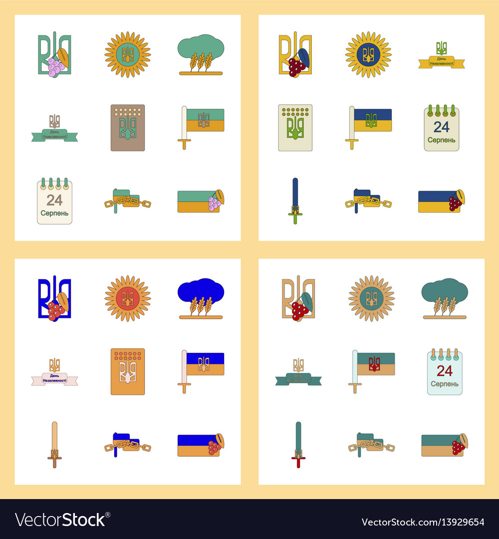 Assembly flat icons ukraines independence day